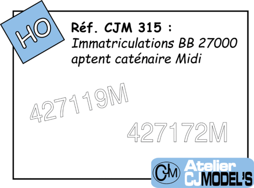 CJM 315 : Immatriculations pour BB 27000M